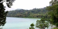 view of the linow lake attractions Linow, north Sulawesi