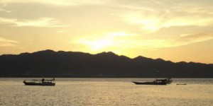 sunset at Manakarra beach, west sulawesi